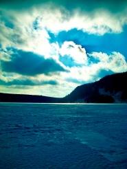 frozen lake clouds