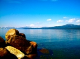 lake boulder sky