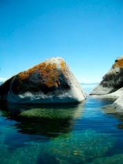 lake boulders algae