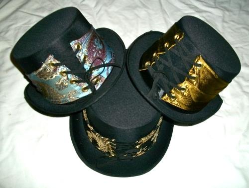 SOLD: Steam hats with necktie hat bands