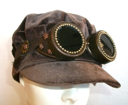 SOLD: Velvet cap with Steam Goggles