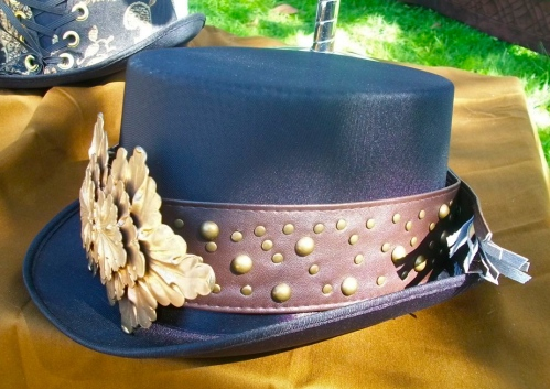 SOLD: Silk Hat with Pleather Studded Band and Brass Buckle