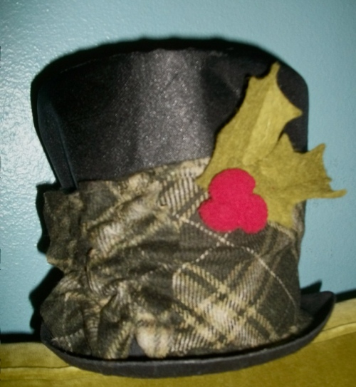 SOLD: Dicken's Hat with felted holly