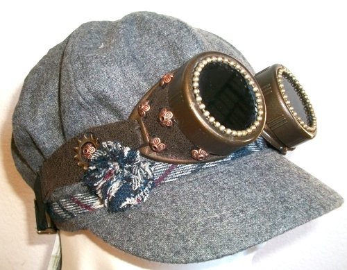 SOLD: Wool cap with Steam Goggles