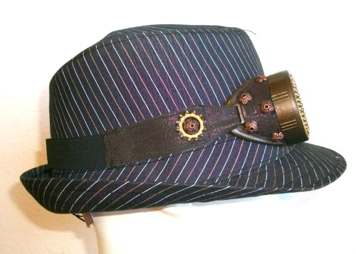 SOLD: Striped fedora with Steam Goggles