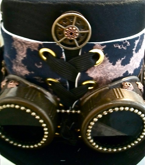 Hat band made of silk tie with custom goggles