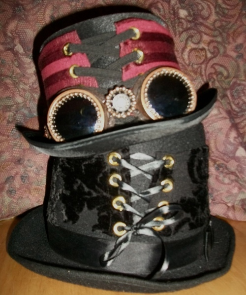 SOLD: Hats dressed with corsets made of old clothes