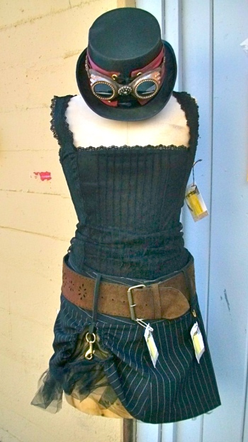 Lacy camisole with reworked skirt and leather belt