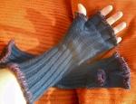 #13G12 Dark Blue Cotton Gloves with Purple Yarn, SOLD