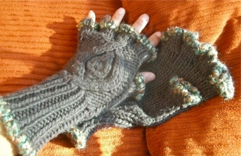 #13G14 Thick Brown Gloves with Green Yarn, SOLD