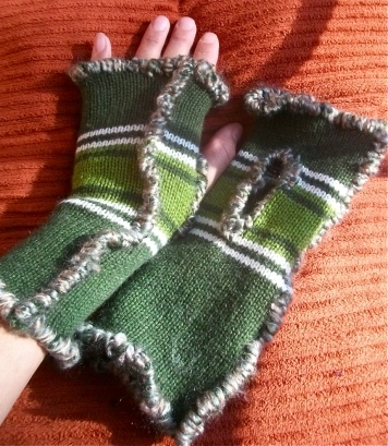 #13M15 Striped Green with Green Yarn, SOLD