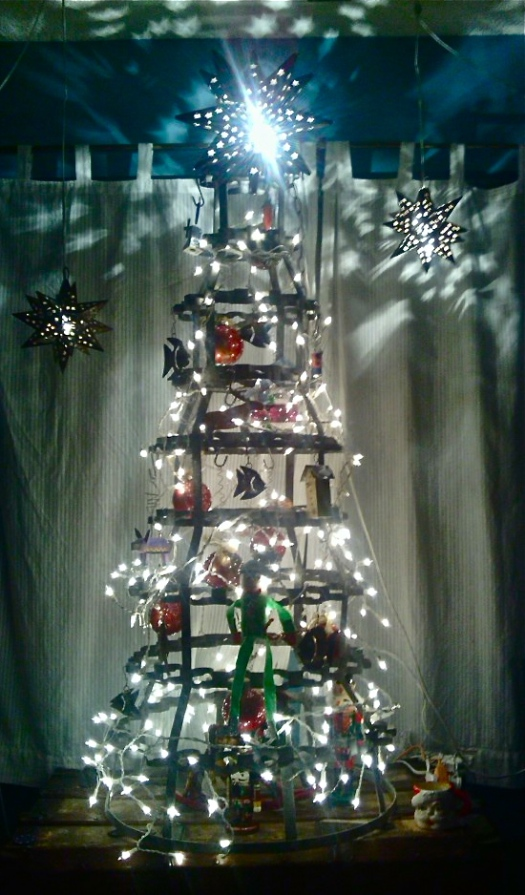 French antique wine bottle dryer = Steampunk Christmas tree