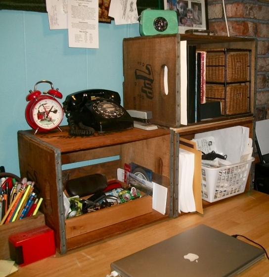 Wooden soda crates = Desk shelving
