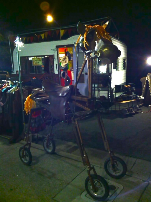 Islas the Horse in front of Betty Dawn at Obtainium Works, Vallejo