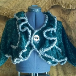 Upcycled Blue Ruffled Sweater