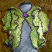 SOLD: Upcycled Chartreuse Wool-blend shrug, SOLD