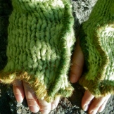 SOLD: Upcycled Green Wool Blend Fingerless Mittens