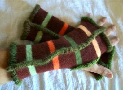 Upcycled Brown Striped with Green Yarn
