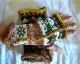 SOLD: Upcycled Fall Pattern Fingerless Mittens
