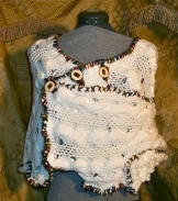 Upcycled Chunky Ivory Shrug with Buttons