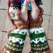 SOLD: Upcylced Fingerless Mittens lined with Cotton