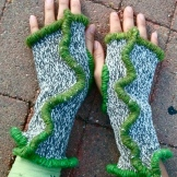 SOLD: Upcycled Grey Mittens with Green