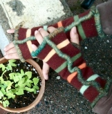 SOLD: Upcycled Fingerless Mittens with Seafoam yarn