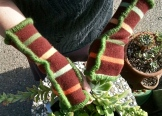 Upcycled Fingerless Mittens with Apple Green yarn