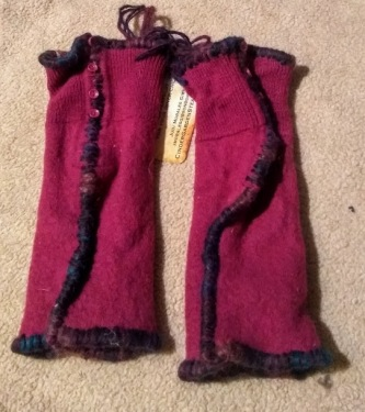 Hand Sweaters: Cashmere Lined, Wool Fuschia with Buttons #HS11, $36