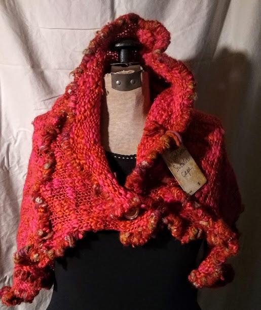Sweater Cape: Hot Pink Orange